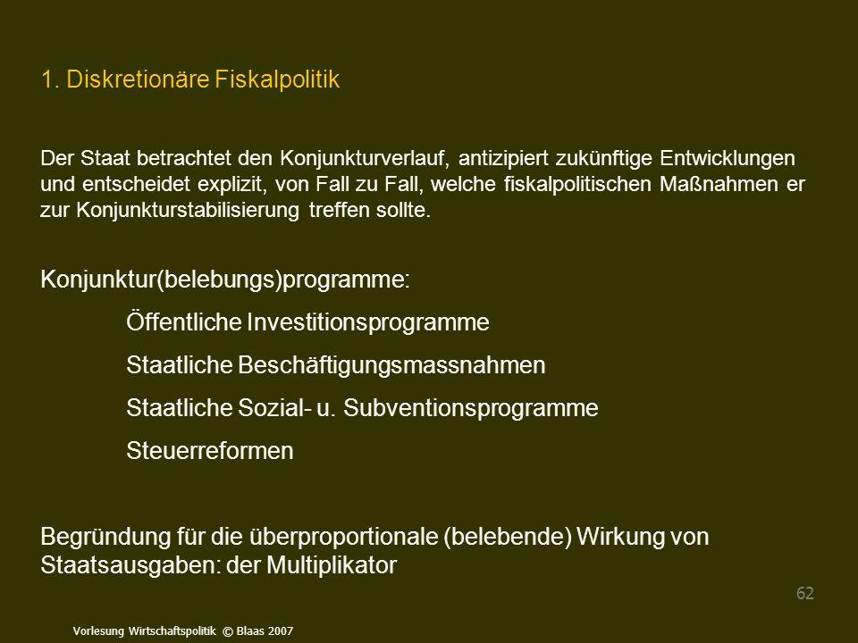 Vorlesung Wirtschaftspolitik © Blaas 2007 62 1. Diskretionäre Fiskalpolitik Der Staat betrachtet den Konjunkturverlauf, antizipiert zukünftige Entwick