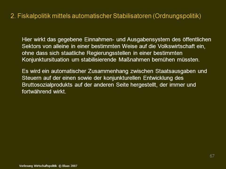 Vorlesung Wirtschaftspolitik © Blaas 2007 67 2. Fiskalpolitik mittels automatischer Stabilisatoren (Ordnungspolitik) Hier wirkt das gegebene Einnahmen