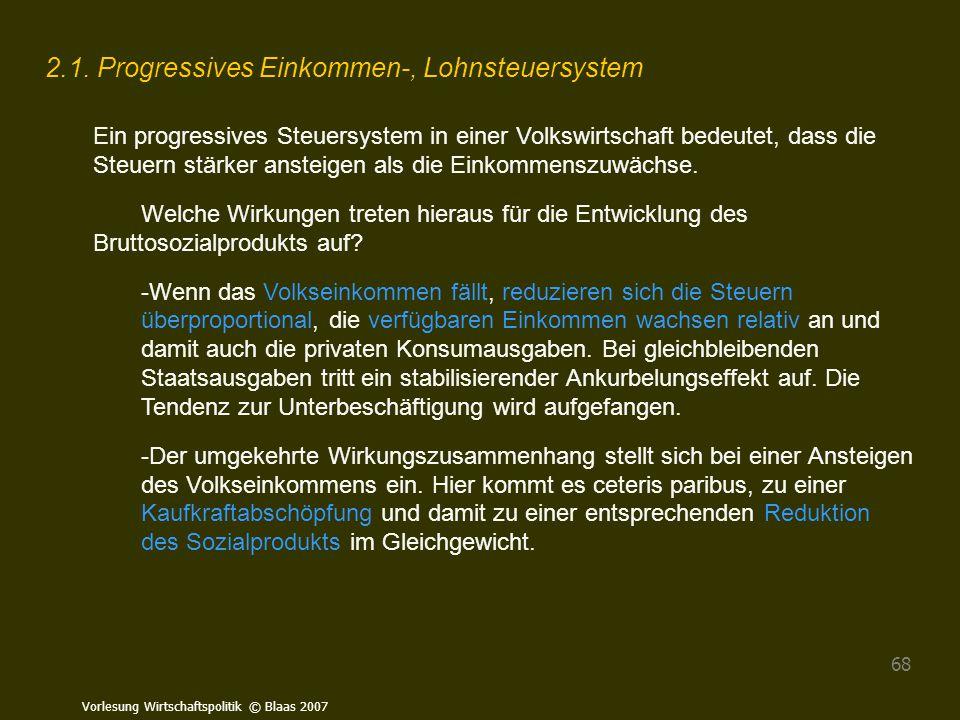 Vorlesung Wirtschaftspolitik © Blaas 2007 68 2.1. Progressives Einkommen-, Lohnsteuersystem Ein progressives Steuersystem in einer Volkswirtschaft bed