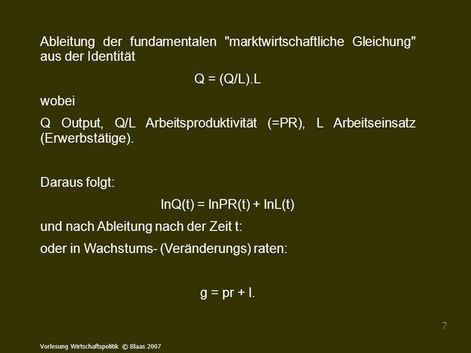 Vorlesung Wirtschaftspolitik © Blaas 2007 128 Lorenzkurve und Gini-Koeffizient Betrachtet man die relativen Anteile von Merkmalsträger, z.B.