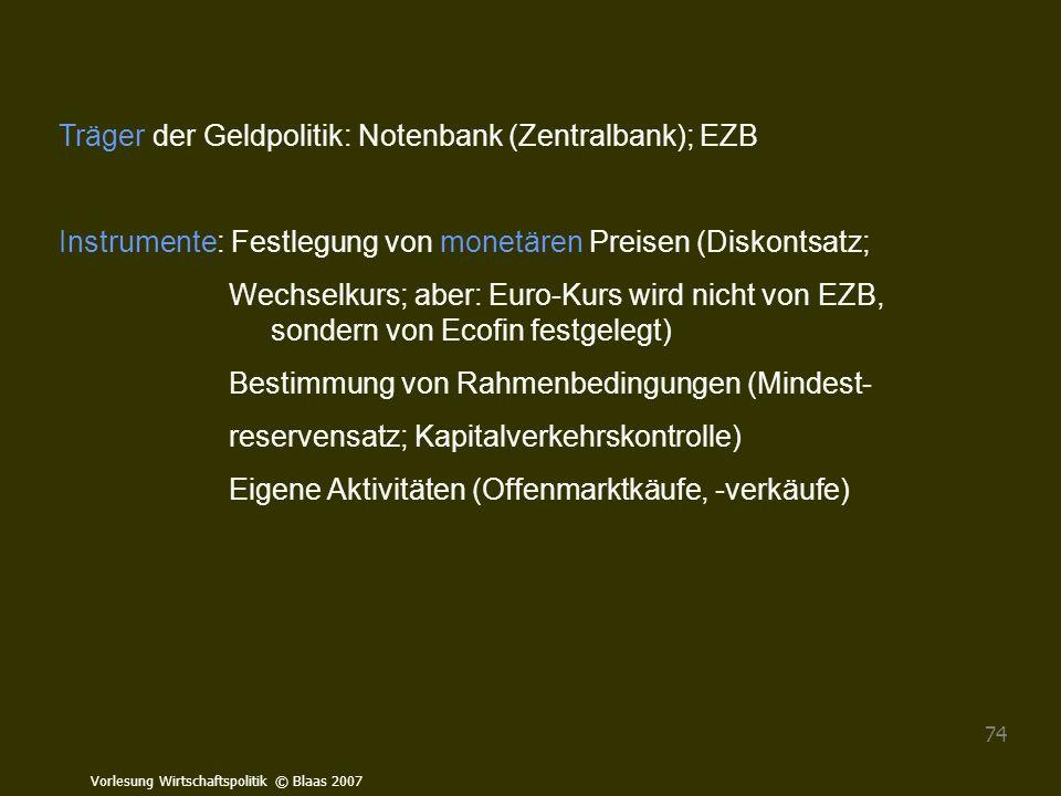 Vorlesung Wirtschaftspolitik © Blaas 2007 74 Träger der Geldpolitik: Notenbank (Zentralbank); EZB Instrumente: Festlegung von monetären Preisen (Disko