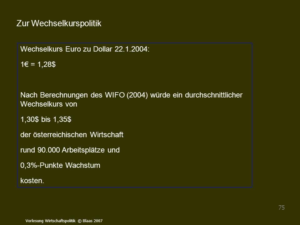 Vorlesung Wirtschaftspolitik © Blaas 2007 75 Wechselkurs Euro zu Dollar 22.1.2004: 1€ = 1,28$ Nach Berechnungen des WIFO (2004) würde ein durchschnitt