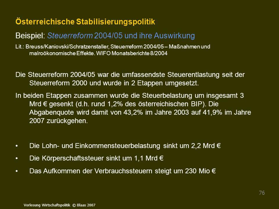 Vorlesung Wirtschaftspolitik © Blaas 2007 76 Österreichische Stabilisierungspolitik Beispiel: Steuerreform 2004/05 und ihre Auswirkung Lit.: Breuss/Ka