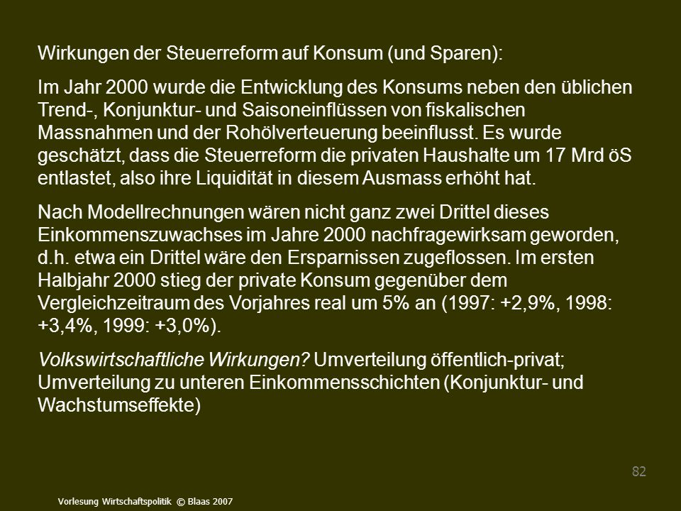 Vorlesung Wirtschaftspolitik © Blaas 2007 82 Wirkungen der Steuerreform auf Konsum (und Sparen): Im Jahr 2000 wurde die Entwicklung des Konsums neben