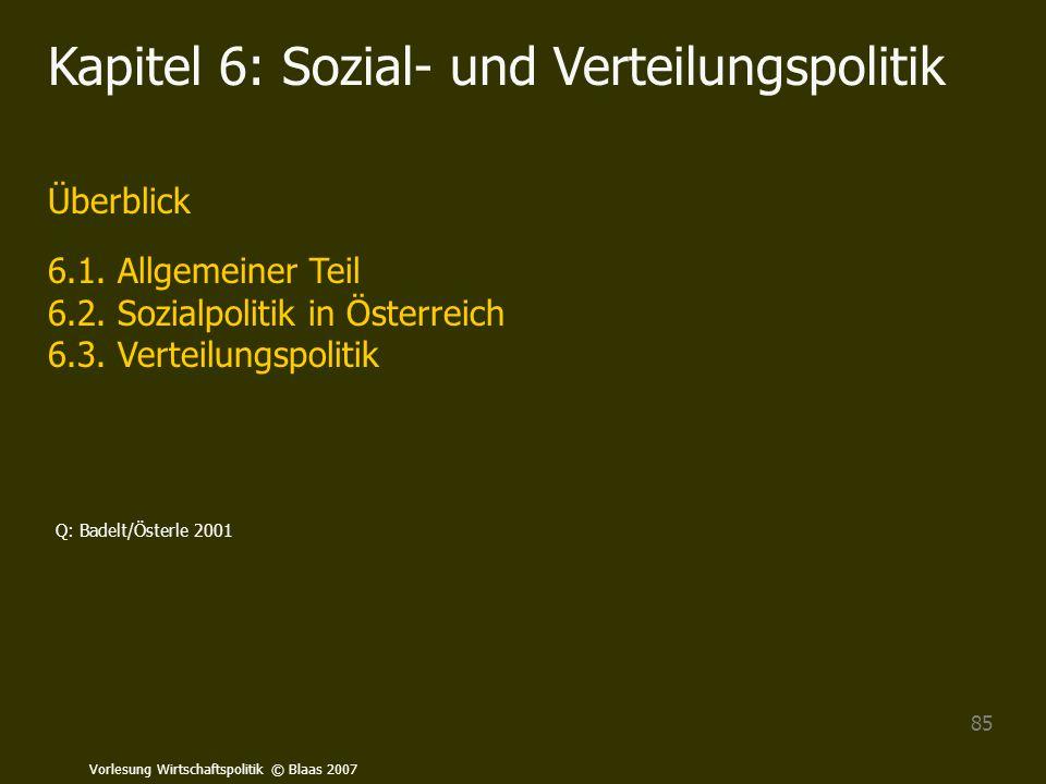 Vorlesung Wirtschaftspolitik © Blaas 2007 85 Kapitel 6: Sozial- und Verteilungspolitik Überblick 6.1. Allgemeiner Teil 6.2. Sozialpolitik in Österreic