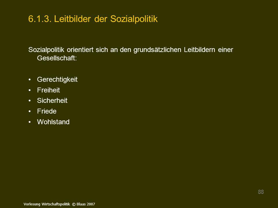 Vorlesung Wirtschaftspolitik © Blaas 2007 88 6.1.3. Leitbilder der Sozialpolitik Sozialpolitik orientiert sich an den grundsätzlichen Leitbildern eine
