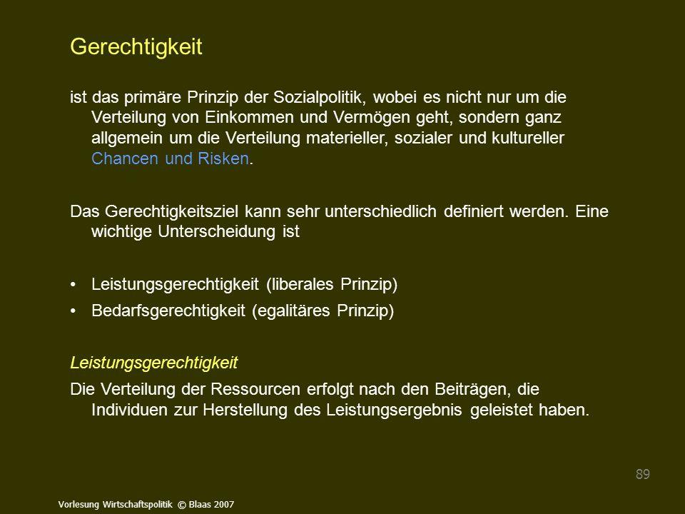 Vorlesung Wirtschaftspolitik © Blaas 2007 89 Gerechtigkeit ist das primäre Prinzip der Sozialpolitik, wobei es nicht nur um die Verteilung von Einkomm