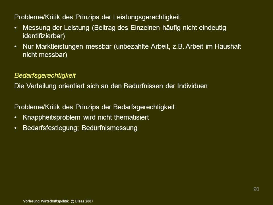 Vorlesung Wirtschaftspolitik © Blaas 2007 90 Probleme/Kritik des Prinzips der Leistungsgerechtigkeit: Messung der Leistung (Beitrag des Einzelnen häuf