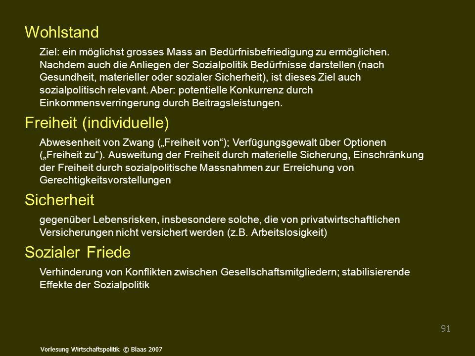 Vorlesung Wirtschaftspolitik © Blaas 2007 91 Wohlstand Ziel: ein möglichst grosses Mass an Bedürfnisbefriedigung zu ermöglichen. Nachdem auch die Anli