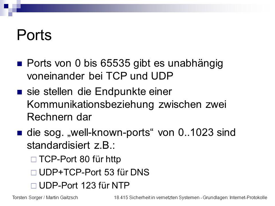 Torsten Sorger / Martin Gaitzsch 18.415 Sicherheit in vernetzten Systemen - Grundlagen: Internet-Protokolle Ports Ports von 0 bis 65535 gibt es unabhä