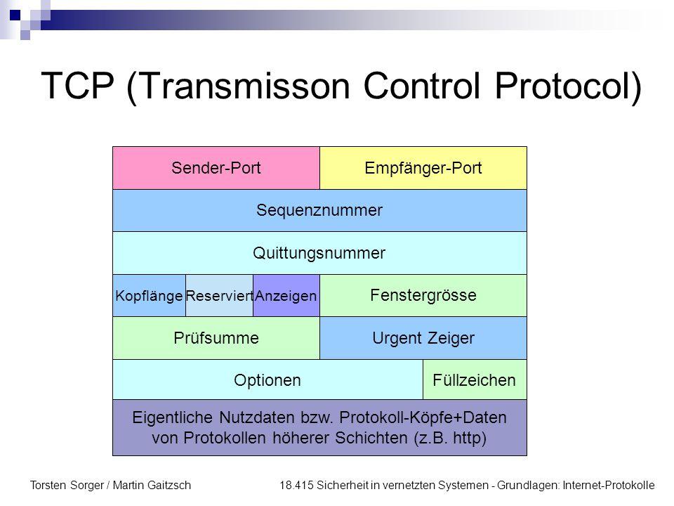 Torsten Sorger / Martin Gaitzsch 18.415 Sicherheit in vernetzten Systemen - Grundlagen: Internet-Protokolle TCP (Transmisson Control Protocol) Sender-