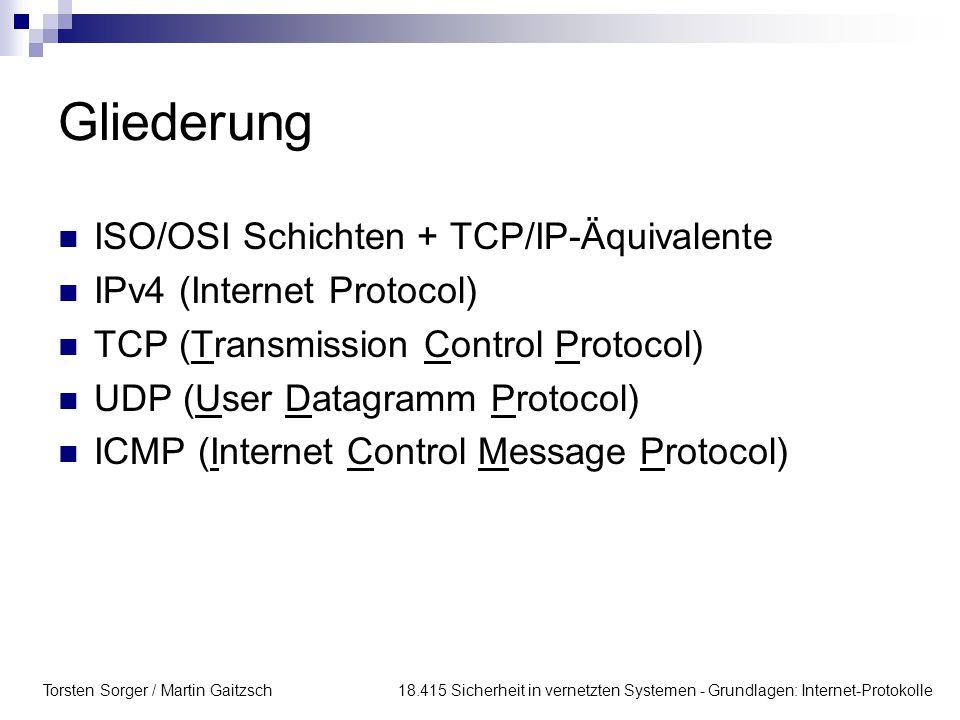 Torsten Sorger / Martin Gaitzsch 18.415 Sicherheit in vernetzten Systemen - Grundlagen: Internet-Protokolle Gliederung ISO/OSI Schichten + TCP/IP-Äquivalente IPv4 (Internet Protocol) TCP (Transmission Control Protocol) UDP (User Datagramm Protocol) ICMP (Internet Control Message Protocol)