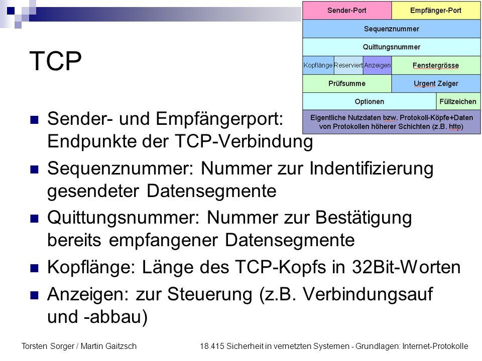 Torsten Sorger / Martin Gaitzsch 18.415 Sicherheit in vernetzten Systemen - Grundlagen: Internet-Protokolle TCP Sender- und Empfängerport: Endpunkte d
