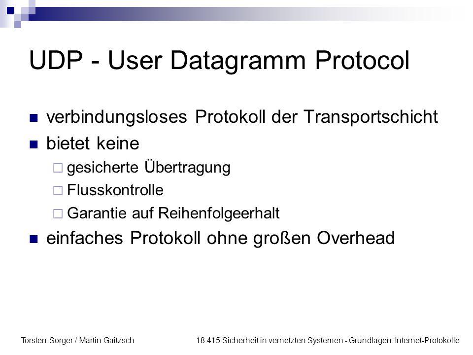 Torsten Sorger / Martin Gaitzsch 18.415 Sicherheit in vernetzten Systemen - Grundlagen: Internet-Protokolle UDP - User Datagramm Protocol verbindungsl