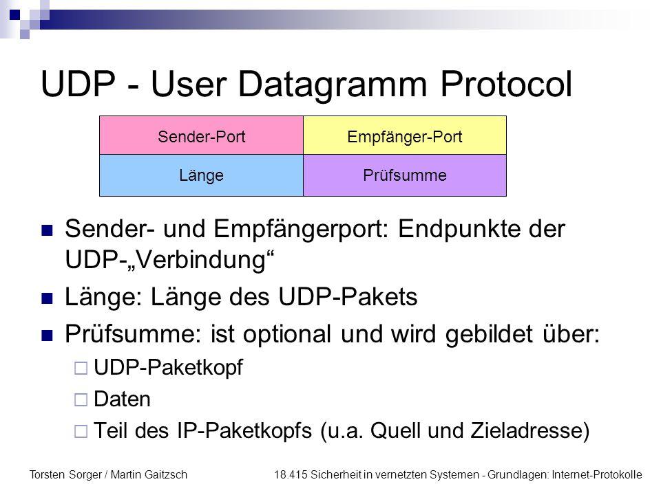 Torsten Sorger / Martin Gaitzsch 18.415 Sicherheit in vernetzten Systemen - Grundlagen: Internet-Protokolle UDP - User Datagramm Protocol Sender-PortE