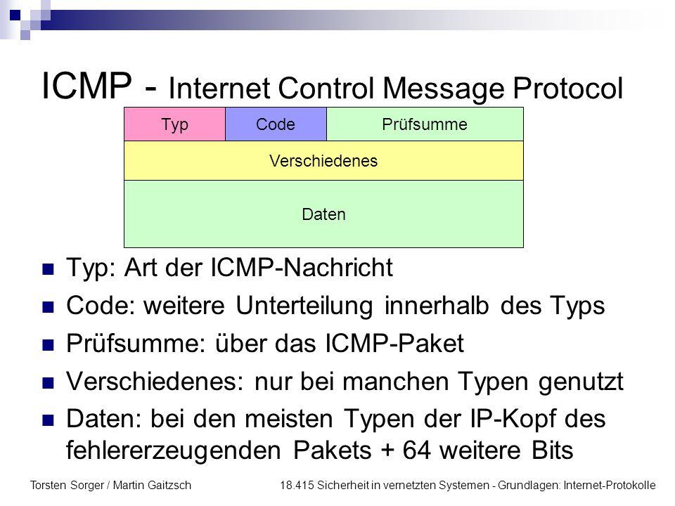 Torsten Sorger / Martin Gaitzsch 18.415 Sicherheit in vernetzten Systemen - Grundlagen: Internet-Protokolle ICMP - Internet Control Message Protocol V