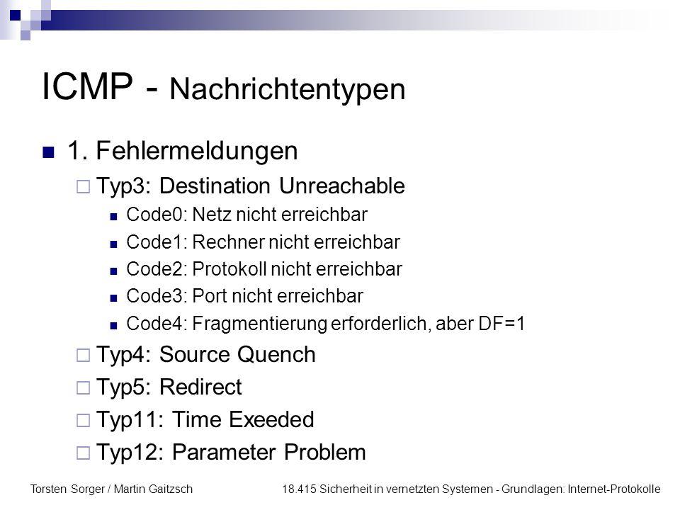 Torsten Sorger / Martin Gaitzsch 18.415 Sicherheit in vernetzten Systemen - Grundlagen: Internet-Protokolle ICMP - Nachrichtentypen 1. Fehlermeldungen