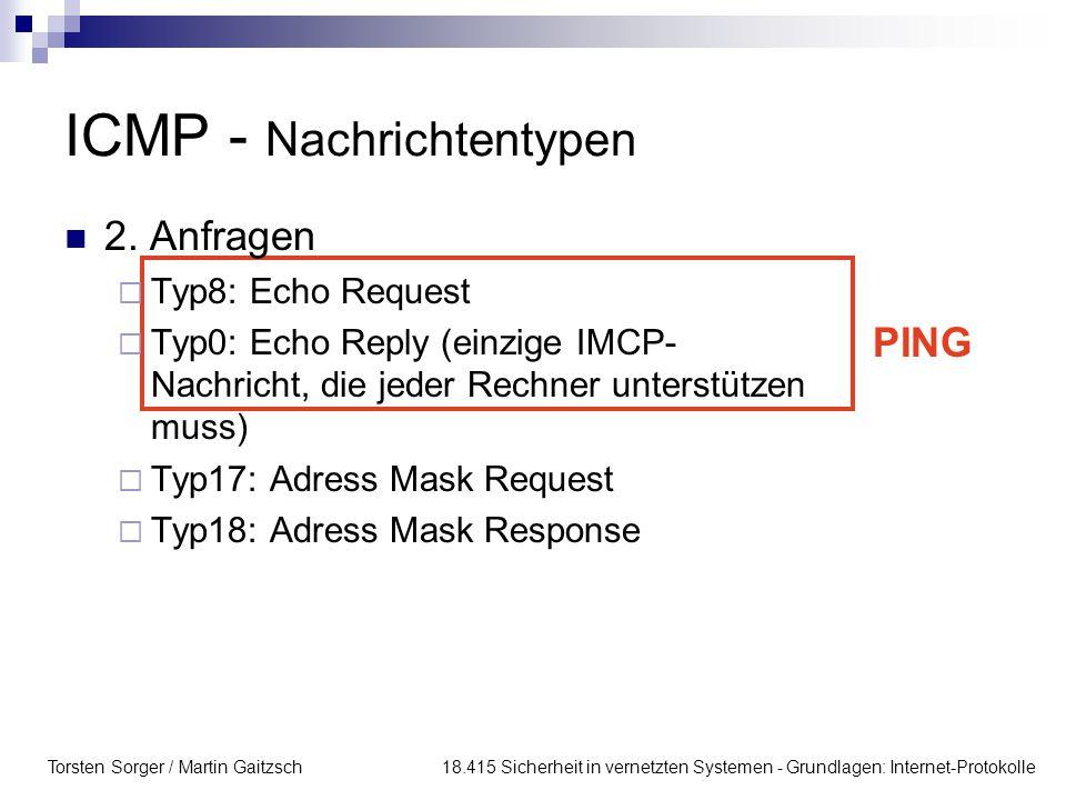Torsten Sorger / Martin Gaitzsch 18.415 Sicherheit in vernetzten Systemen - Grundlagen: Internet-Protokolle ICMP - Nachrichtentypen 2.