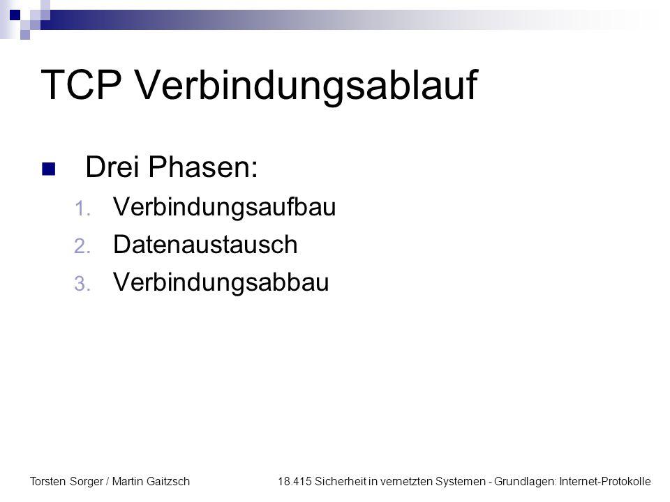 Torsten Sorger / Martin Gaitzsch 18.415 Sicherheit in vernetzten Systemen - Grundlagen: Internet-Protokolle TCP Verbindungsablauf Drei Phasen: 1. Verb