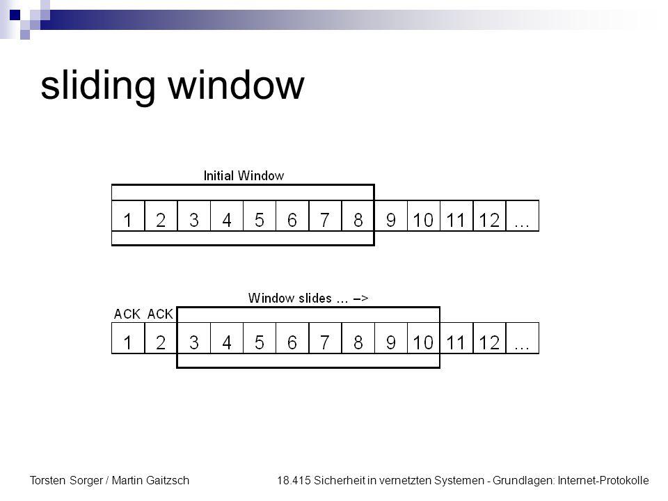 Torsten Sorger / Martin Gaitzsch 18.415 Sicherheit in vernetzten Systemen - Grundlagen: Internet-Protokolle sliding window