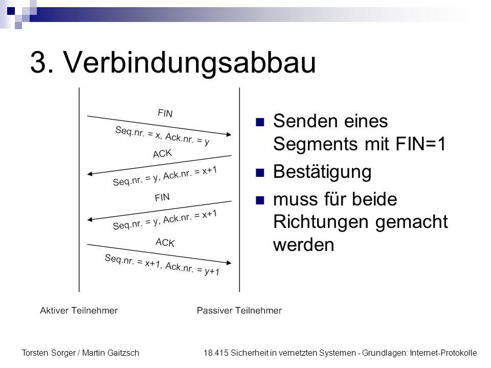 Torsten Sorger / Martin Gaitzsch 18.415 Sicherheit in vernetzten Systemen - Grundlagen: Internet-Protokolle 3. Verbindungsabbau Senden eines Segments
