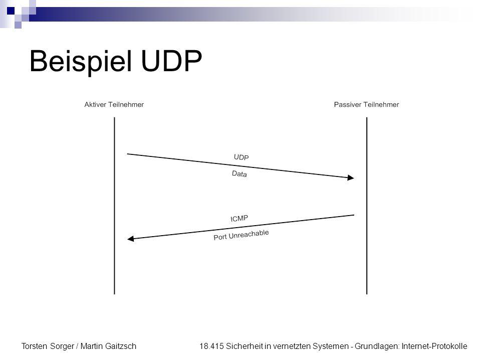 Torsten Sorger / Martin Gaitzsch 18.415 Sicherheit in vernetzten Systemen - Grundlagen: Internet-Protokolle Beispiel UDP