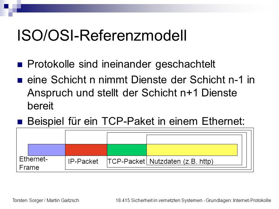Torsten Sorger / Martin Gaitzsch 18.415 Sicherheit in vernetzten Systemen - Grundlagen: Internet-Protokolle ISO/OSI-Referenzmodell Protokolle sind ineinander geschachtelt eine Schicht n nimmt Dienste der Schicht n-1 in Anspruch und stellt der Schicht n+1 Dienste bereit Beispiel für ein TCP-Paket in einem Ethernet: Ethernet- Frame IP-PacketTCP-PacketNutzdaten (z.B.