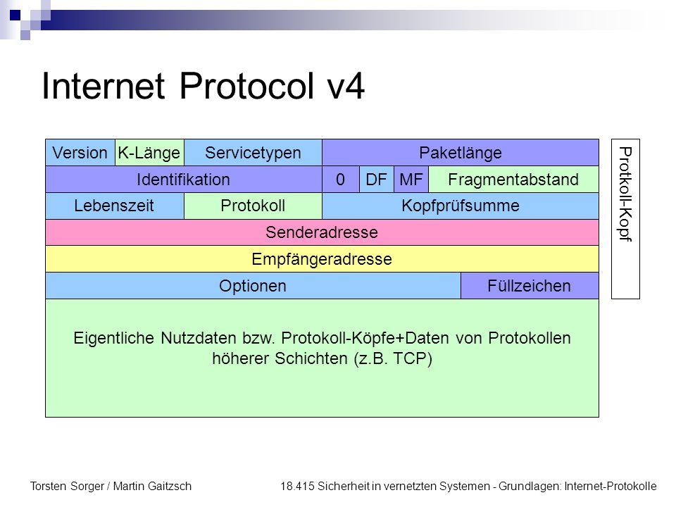 Torsten Sorger / Martin Gaitzsch 18.415 Sicherheit in vernetzten Systemen - Grundlagen: Internet-Protokolle Internet Protocol v4 VersionK-LängeService