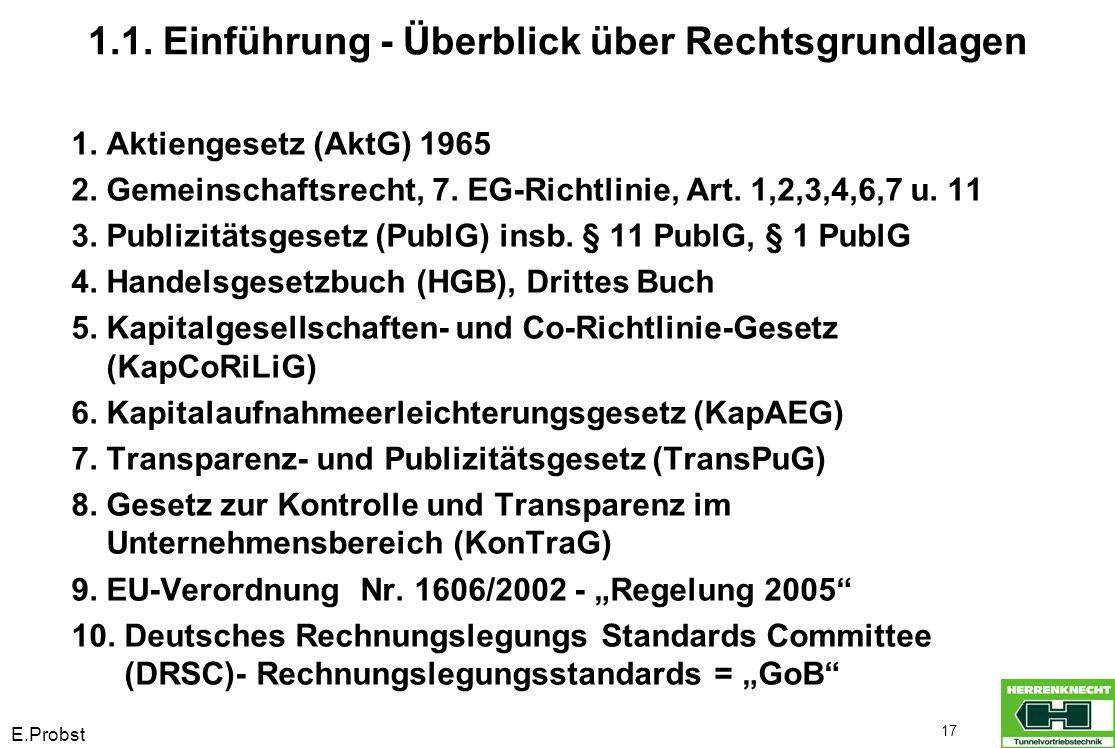 E.Probst 17 1.1. Einführung - Überblick über Rechtsgrundlagen 1. Aktiengesetz (AktG) 1965 2. Gemeinschaftsrecht, 7. EG-Richtlinie, Art. 1,2,3,4,6,7 u.