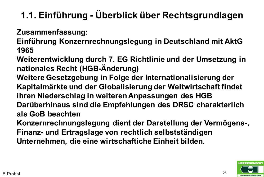 E.Probst 25 Zusammenfassung: Einführung Konzernrechnungslegung in Deutschland mit AktG 1965 Weiterentwicklung durch 7. EG Richtlinie und der Umsetzung