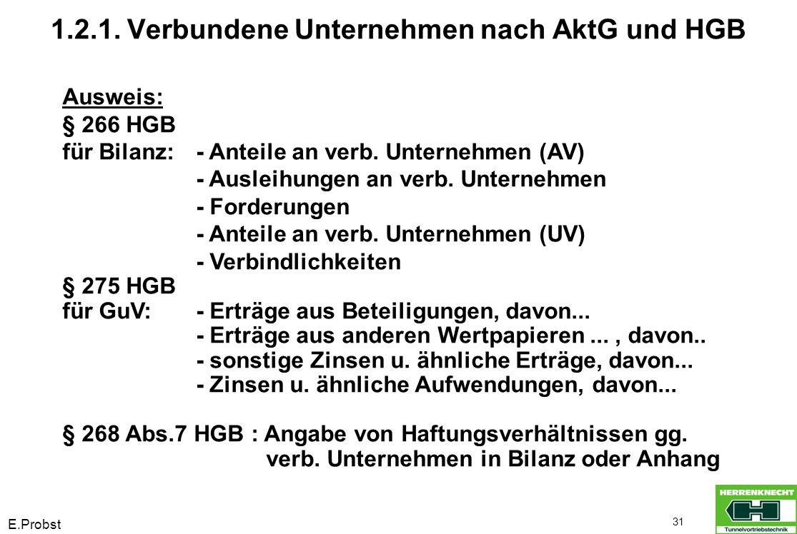 E.Probst 31 1.2.1. Verbundene Unternehmen nach AktG und HGB Ausweis: § 266 HGB für Bilanz:- Anteile an verb. Unternehmen (AV) - Ausleihungen an verb.