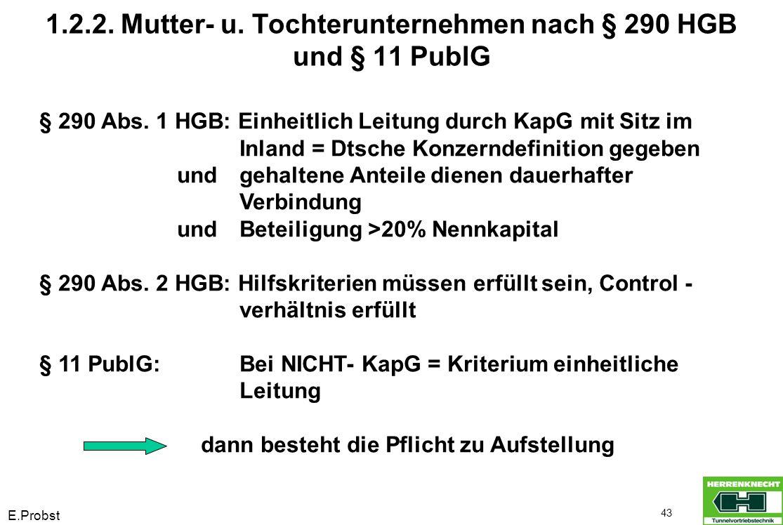 E.Probst 43 1.2.2. Mutter- u. Tochterunternehmen nach § 290 HGB und § 11 PublG § 290 Abs. 1 HGB: Einheitlich Leitung durch KapG mit Sitz im Inland = D