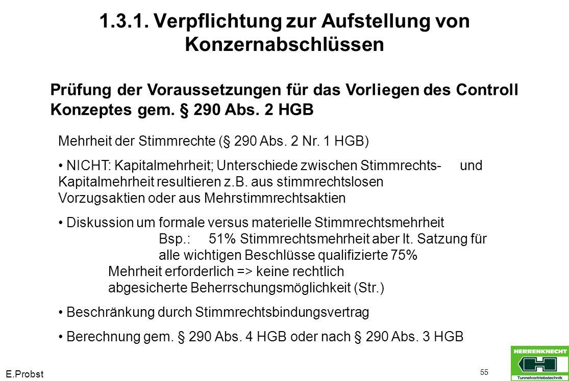 E.Probst 55 Prüfung der Voraussetzungen für das Vorliegen des Controll Konzeptes gem. § 290 Abs. 2 HGB Mehrheit der Stimmrechte (§ 290 Abs. 2 Nr. 1 HG