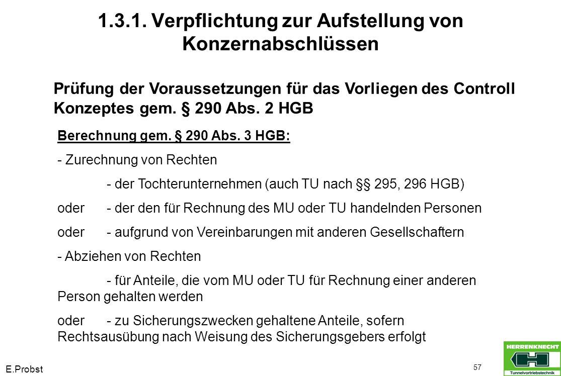 E.Probst 57 Prüfung der Voraussetzungen für das Vorliegen des Controll Konzeptes gem. § 290 Abs. 2 HGB Berechnung gem. § 290 Abs. 3 HGB: - Zurechnung