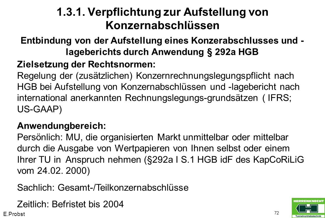 E.Probst 72 Entbindung von der Aufstellung eines Konzerabschlusses und - lageberichts durch Anwendung § 292a HGB Zielsetzung der Rechtsnormen: Regelun