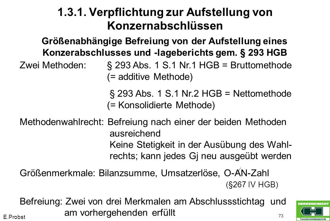 E.Probst 73 Größenabhängige Befreiung von der Aufstellung eines Konzerabschlusses und -lageberichts gem. § 293 HGB Zwei Methoden:§ 293 Abs. 1 S.1 Nr.1