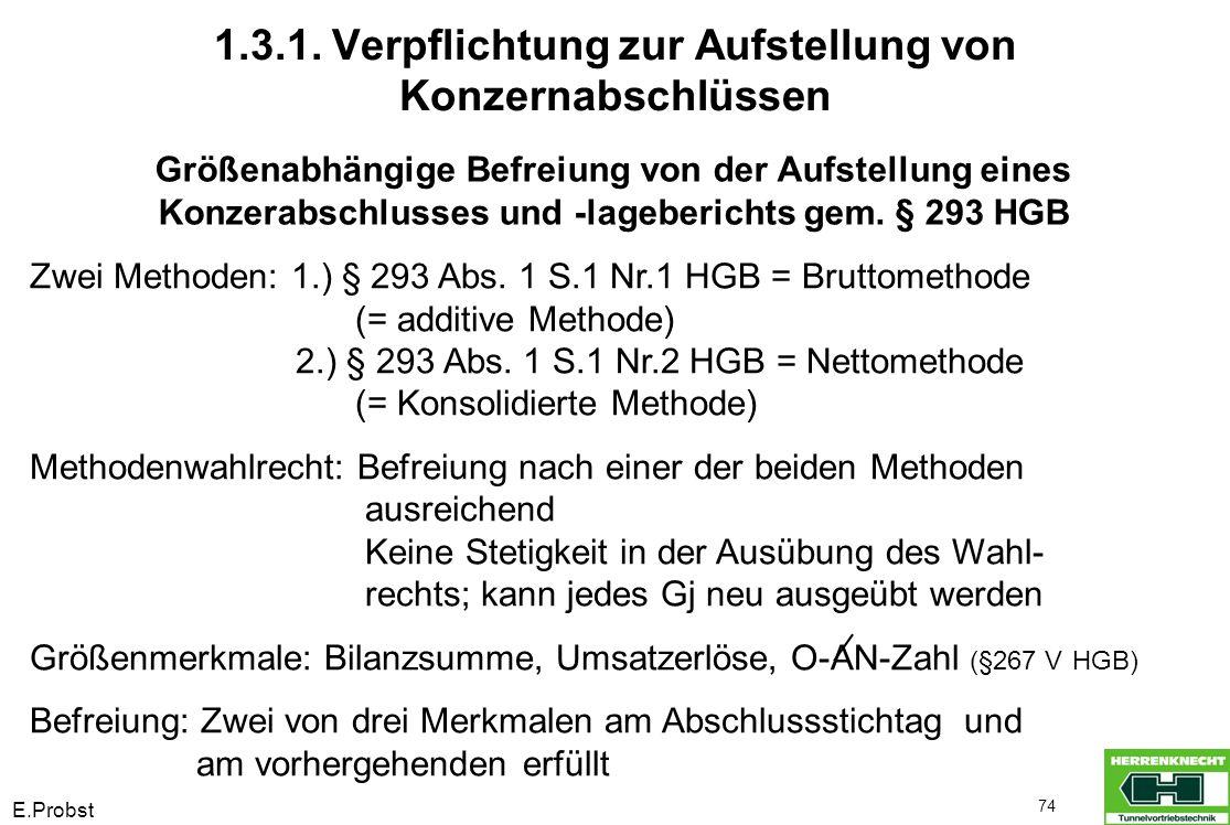 E.Probst 74 Größenabhängige Befreiung von der Aufstellung eines Konzerabschlusses und -lageberichts gem. § 293 HGB Zwei Methoden: 1.) § 293 Abs. 1 S.1