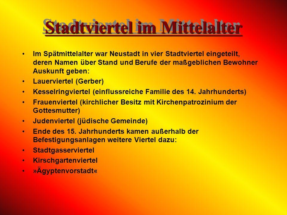 Verleihung des Stadtprivilegs Am 6. April 1275 erhielt Neustadt durch Rudolf von Habsburg die Stadtrechte: »Wir, Rudolf von Gottes Gnaden Römischer Kö