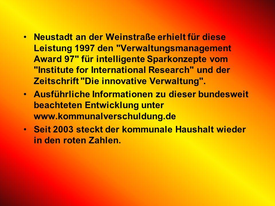 Vorreiterrolle bei Verwaltungsreform Neustadt an der Weinstraße war bis 2002 die einzige kreisfreie Stadt in Rheinland-Pfalz, die seit 1993 in Folge i