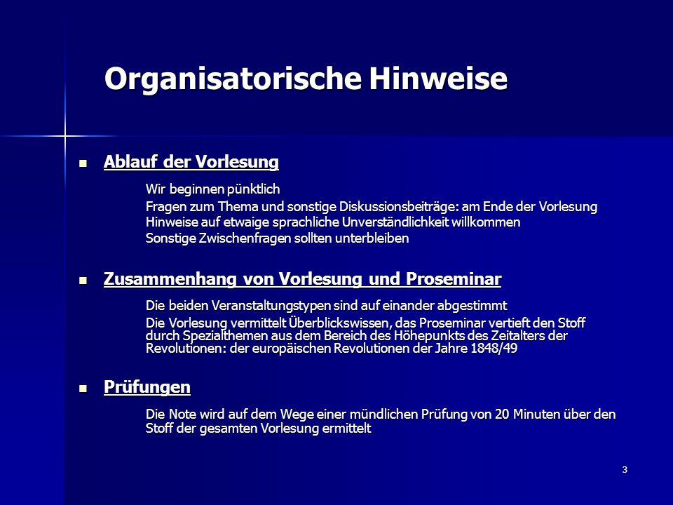 3 Organisatorische Hinweise Organisatorische Hinweise Ablauf der Vorlesung Ablauf der Vorlesung Wir beginnen pünktlich Fragen zum Thema und sonstige D