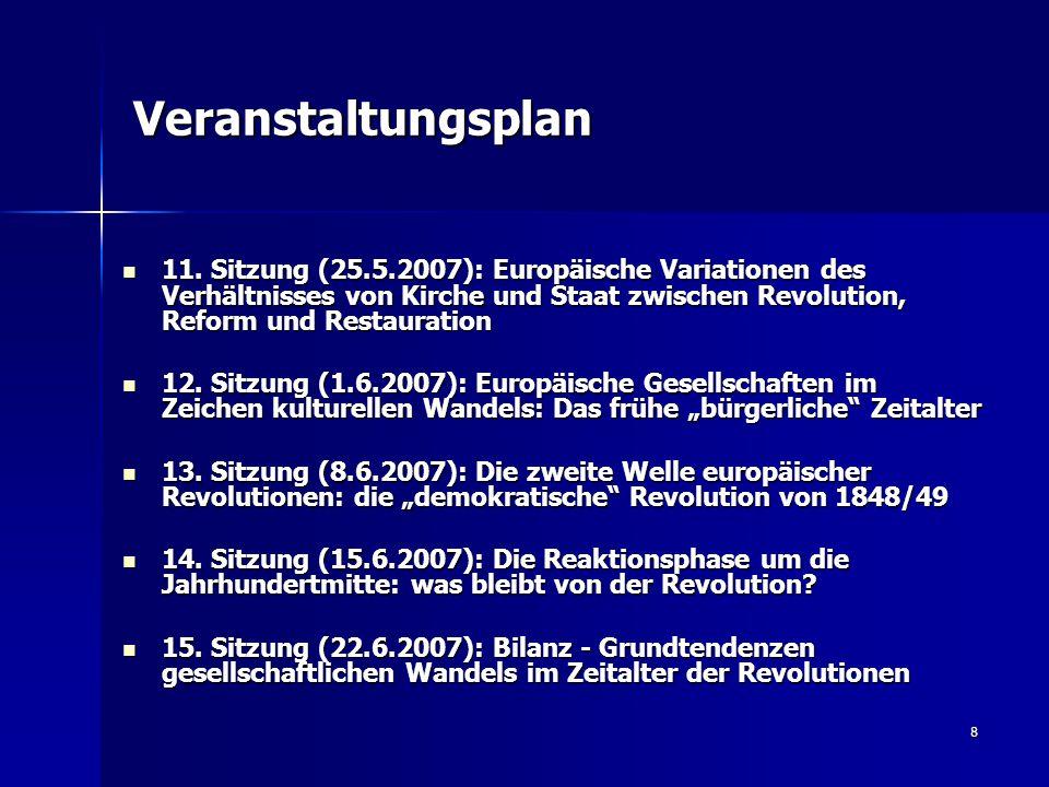 8 Veranstaltungsplan 11. Sitzung (25.5.2007): Europäische Variationen des Verhältnisses von Kirche und Staat zwischen Revolution, Reform und Restaurat