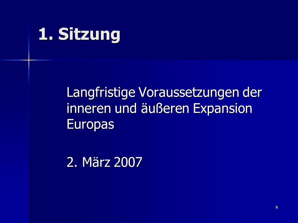 9 1. Sitzung Langfristige Voraussetzungen der inneren und äußeren Expansion Europas Langfristige Voraussetzungen der inneren und äußeren Expansion Eur