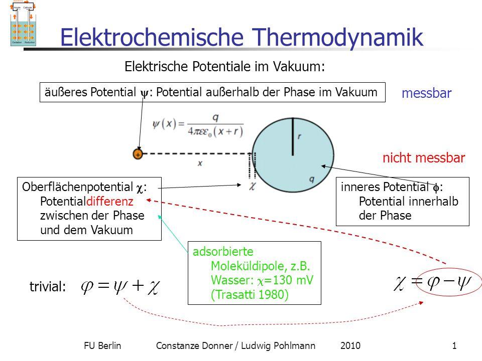 FU Berlin Constanze Donner / Ludwig Pohlmann 20101 Elektrochemische Thermodynamik Elektrische Potentiale im Vakuum: äußeres Potential  : Potential au
