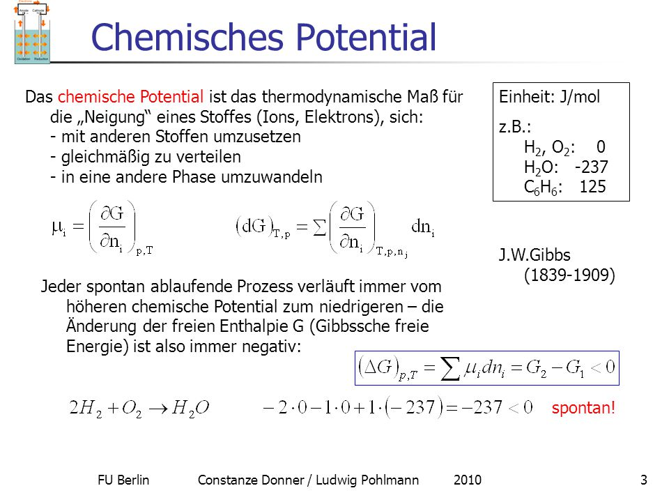 """FU Berlin Constanze Donner / Ludwig Pohlmann 20103 Chemisches Potential Das chemische Potential ist das thermodynamische Maß für die """"Neigung"""" eines S"""