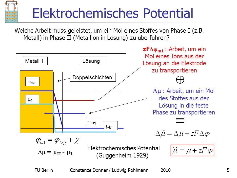 FU Berlin Constanze Donner / Ludwig Pohlmann 20105 Elektrochemisches Potential zF  m1 : Arbeit, um ein Mol eines Ions aus der Lösung an die Elektrod