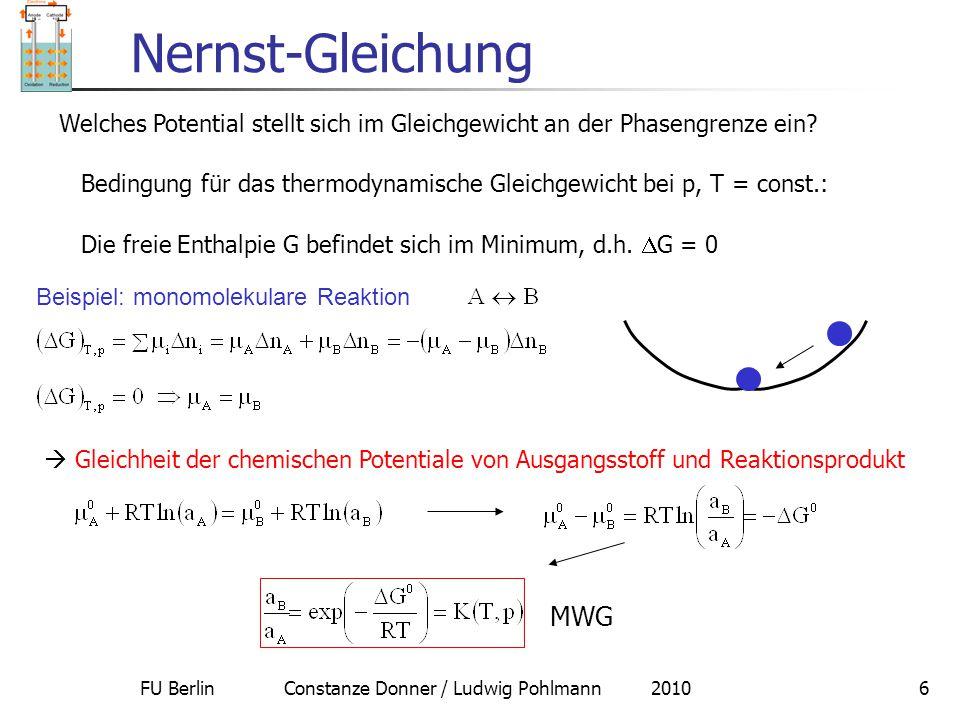 FU Berlin Constanze Donner / Ludwig Pohlmann 20106 Nernst-Gleichung Welches Potential stellt sich im Gleichgewicht an der Phasengrenze ein? Bedingung