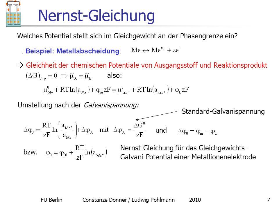 FU Berlin Constanze Donner / Ludwig Pohlmann 20107 Nernst-Gleichung Welches Potential stellt sich im Gleichgewicht an der Phasengrenze ein?  Gleichhe