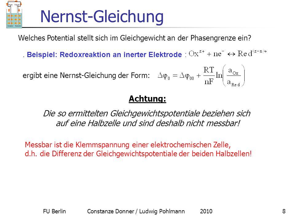 FU Berlin Constanze Donner / Ludwig Pohlmann 20108 Nernst-Gleichung Welches Potential stellt sich im Gleichgewicht an der Phasengrenze ein?. Beispiel: