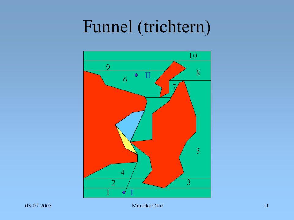 03.07.2003Mareike Otte12 Funnel (trichtern) 1 2 3 4 5 6 7 8 9 10 I II