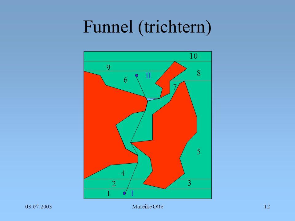 03.07.2003Mareike Otte13 Funnel (trichtern) 1 2 3 4 5 6 7 8 9 10 I II